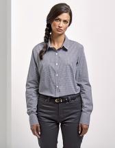 Ladies` Microcheck (Gingham) Long Sleeve Cotton Shirt